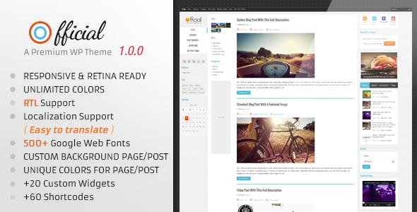 ThemeForest Official Retina Responsive WordPress Blog Theme 4667180
