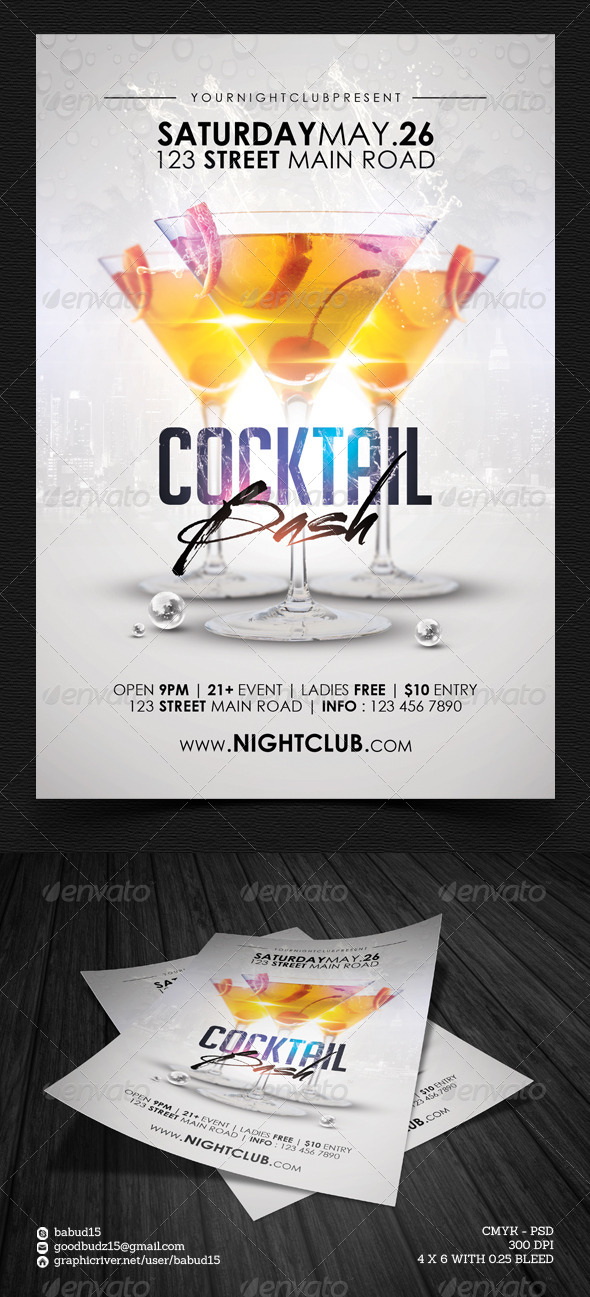 GraphicRiver Cocktail Party Flyer Template 4619602
