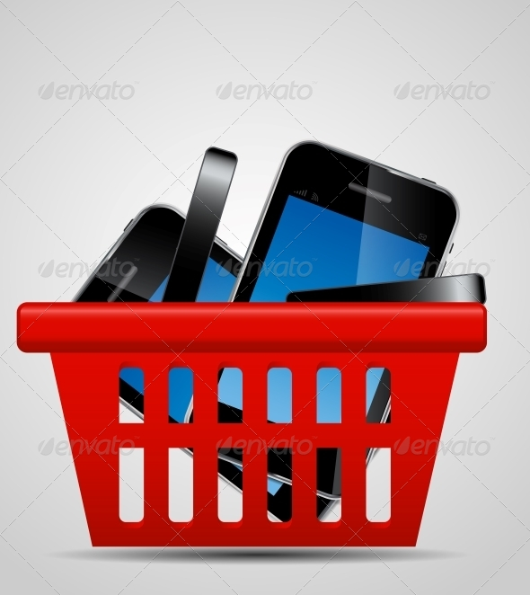 GraphicRiver Phone and Shopping Basket Vector Illustration 4692377