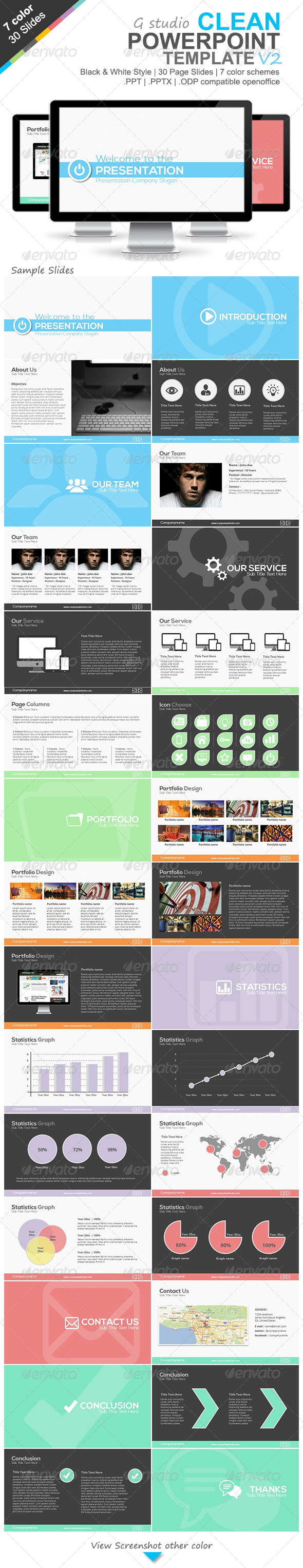 GraphicRiver Gstudio Clean Powerpoint Template V2 4635267