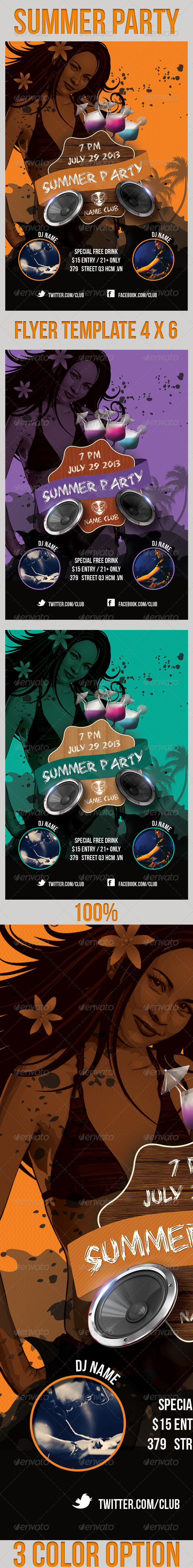 GraphicRiver Summer Party Flyers Template 4621773
