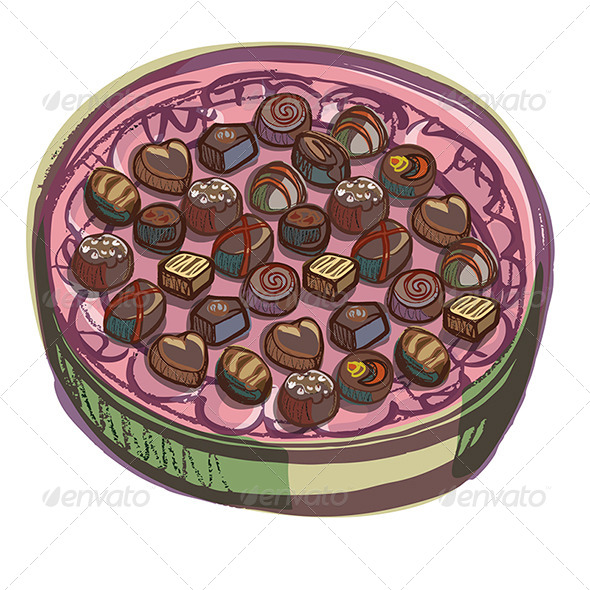 GraphicRiver Chocolate Oval Presenation Box with Various Chocol 4693780
