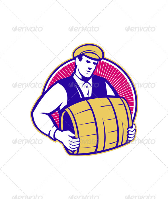 GraphicRiver Bartender Carrying Beer Keg Retro 4696080