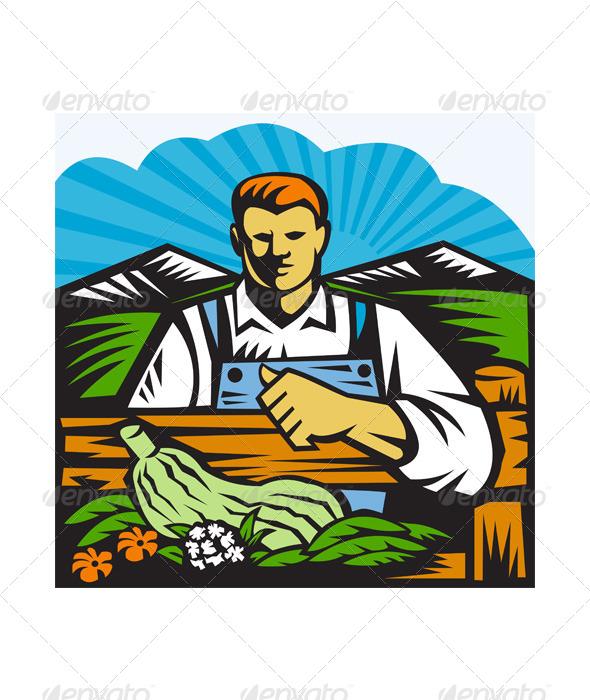 GraphicRiver Organic Farmer Farm Produce Harvest Retro 4696180