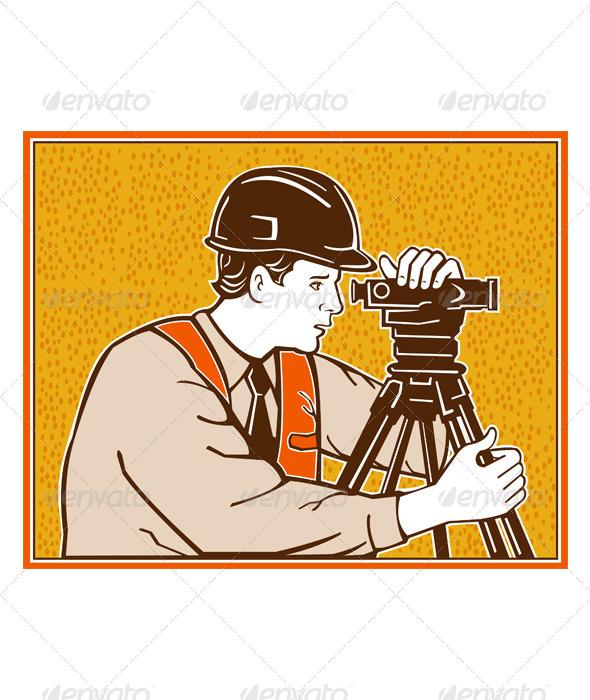 GraphicRiver Surveyor Geodetic Civil Engineer Retro 4696361
