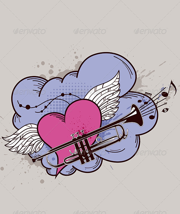 GraphicRiver Heart with Wings and Trumpet 4696523