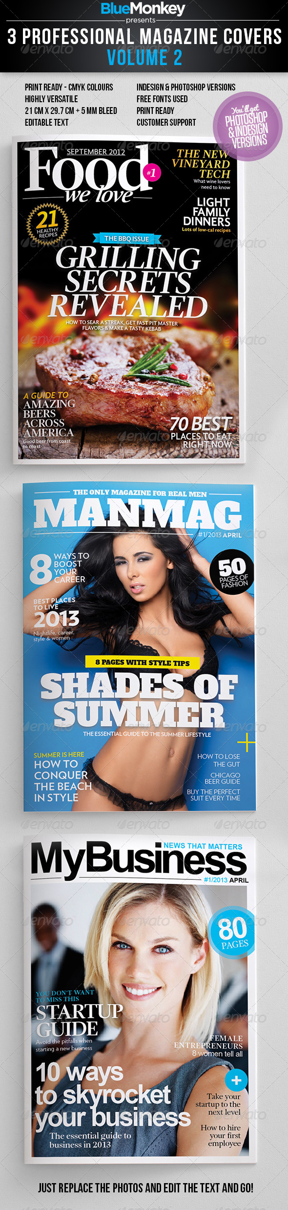 3 Professional Magazine Covers - Vol. 2 - Magazines Print Templates