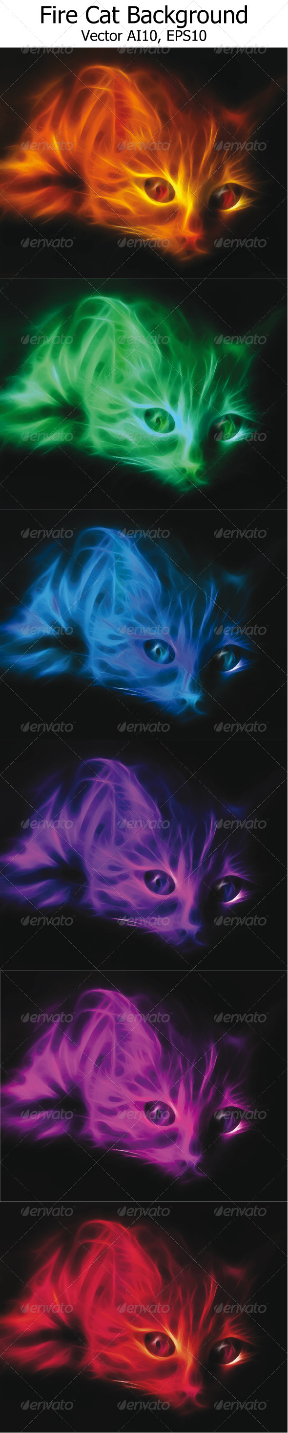 GraphicRiver Fire Cat Background 4696596