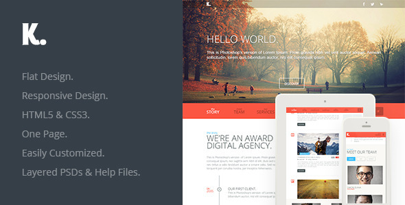 ThemeForest K Responsive HTML5 One Page 4680373