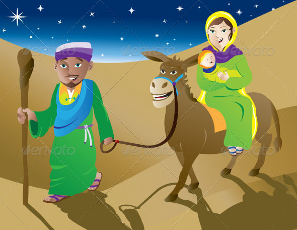 GraphicRiver Mary Joseph and Baby Jesus Leaving Bethlehem 4698178