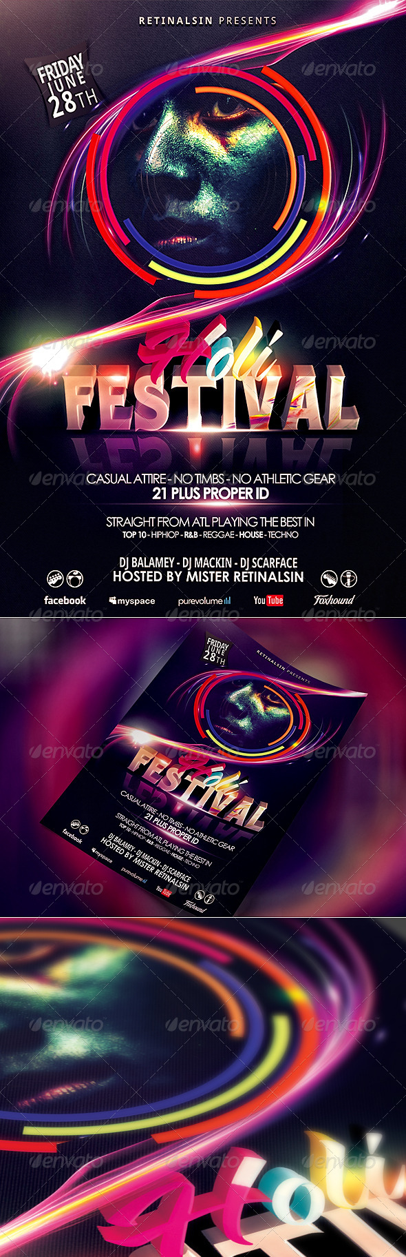 GraphicRiver Holi Festival Flyer Template Festival of Colors 4621752