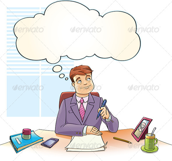 Businessman with the Thinking Bubble - Concepts Business