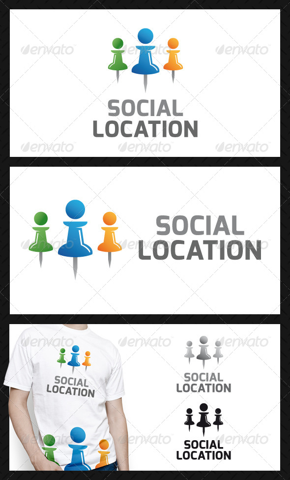 Social Location Pin Logo Template
