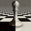 Black and white pawn on the chessboard background - PhotoDune Item for Sale