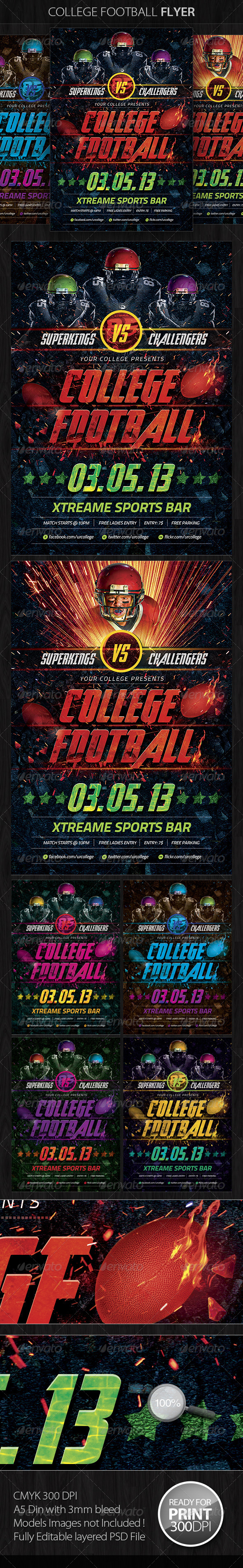 GraphicRiver College Football Flyer Template 4699162