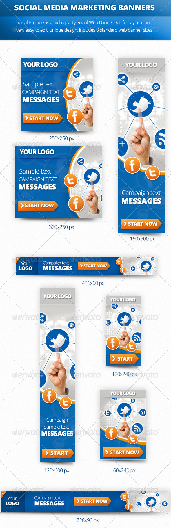 Social Multiporpose Web Banner Set - Banners & Ads Web Elements
