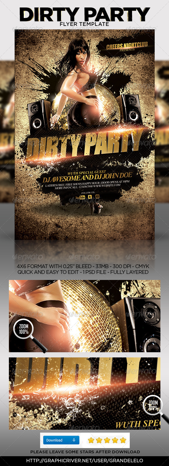 GraphicRiver Dirty Party Flyer Template 4623467