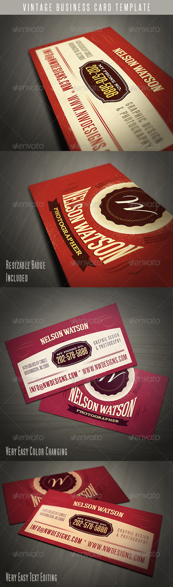 GraphicRiver Vintage Business Card Template 4699577