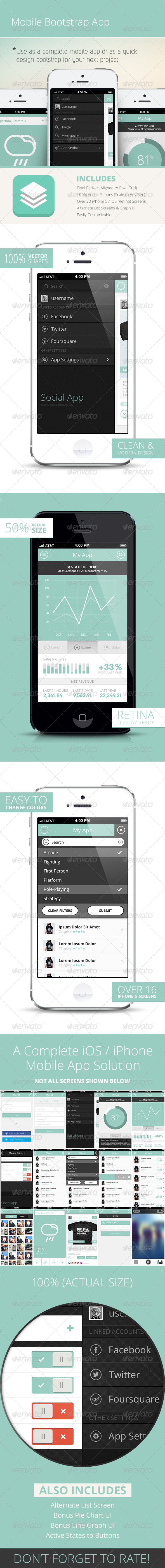 GraphicRiver Bootstrap Mobile Phone UI App 4699579