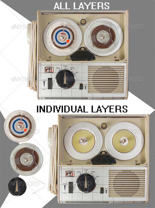 GraphicRiver Old Portable Mini Tape Recorder Parts 4699584