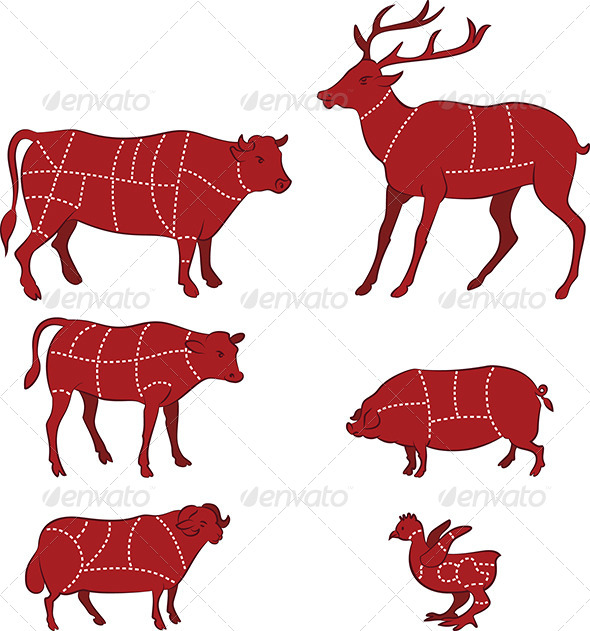 GraphicRiver Cutting Meat Diagram 4699588