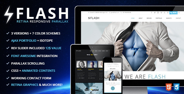 ThemeForest Flash Retina Ready Responsive Parallax Template 4659744