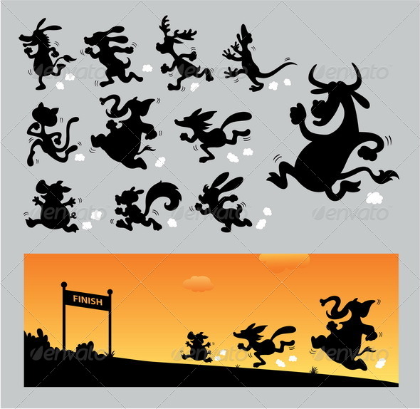 Cartoon Running Silhouettes - Sports/Activity Conceptual