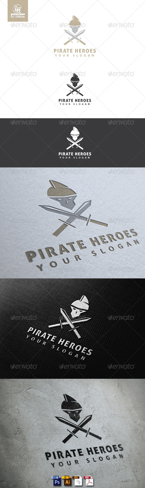 GraphicRiver Pirate Heroes Logo Template 4701044