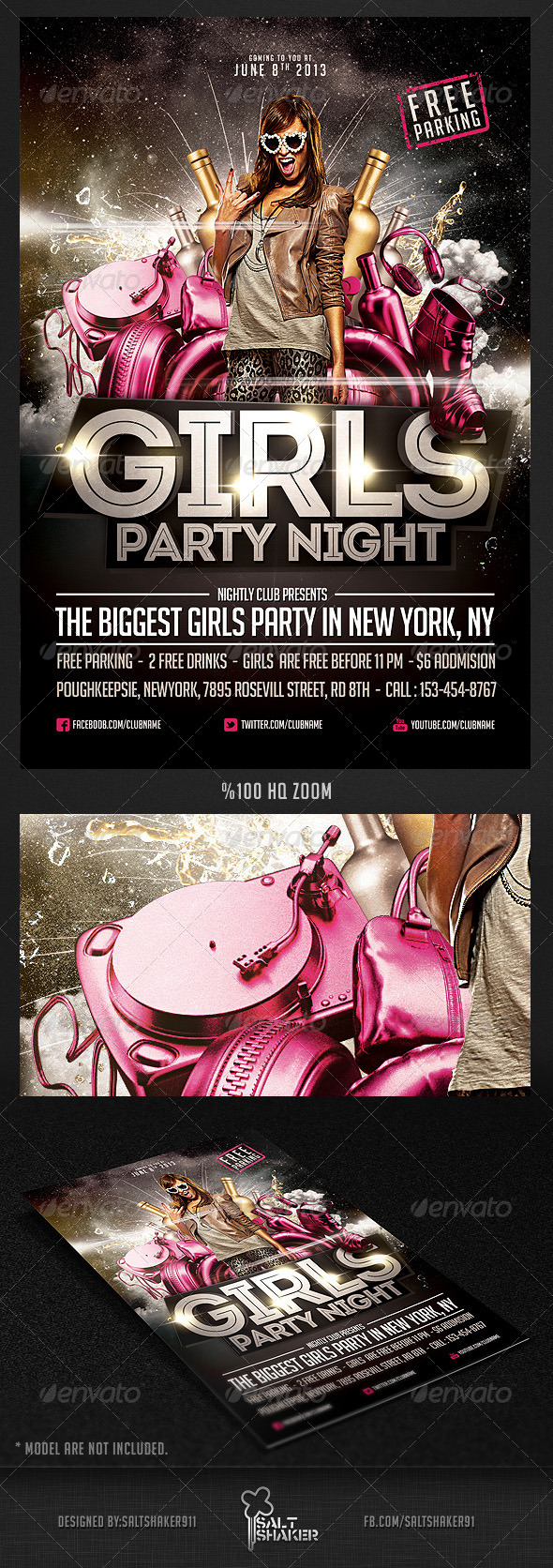 GraphicRiver Girls Party Night Flyer Template 4701096