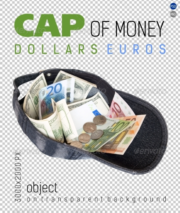 Cap of Money Dollars and Euros on Transparent