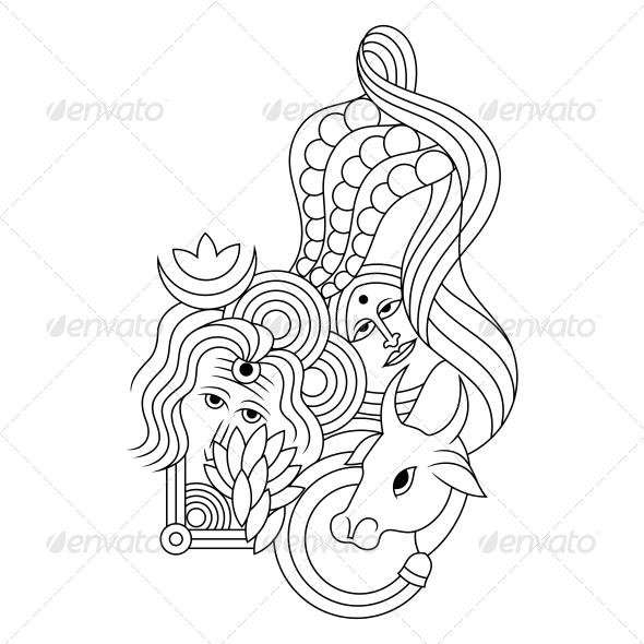 GraphicRiver Hindu Lord Shiv-Parvati Religious Vector Design 4701587
