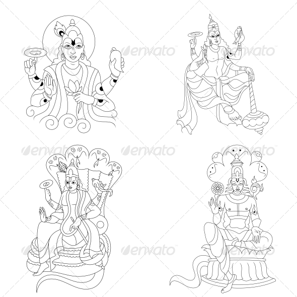GraphicRiver Hindu Lord Vishnu Religious Vector Designs Pack 4701683