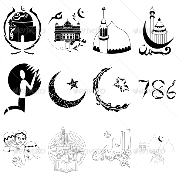 GraphicRiver Islamic Religious Signs Vector Designs Pack 4701686