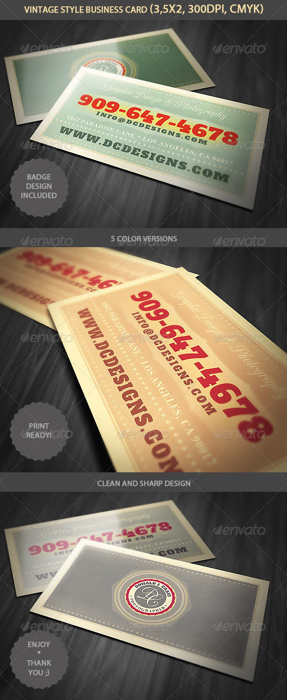 GraphicRiver Vintage Business Card Template 4701728