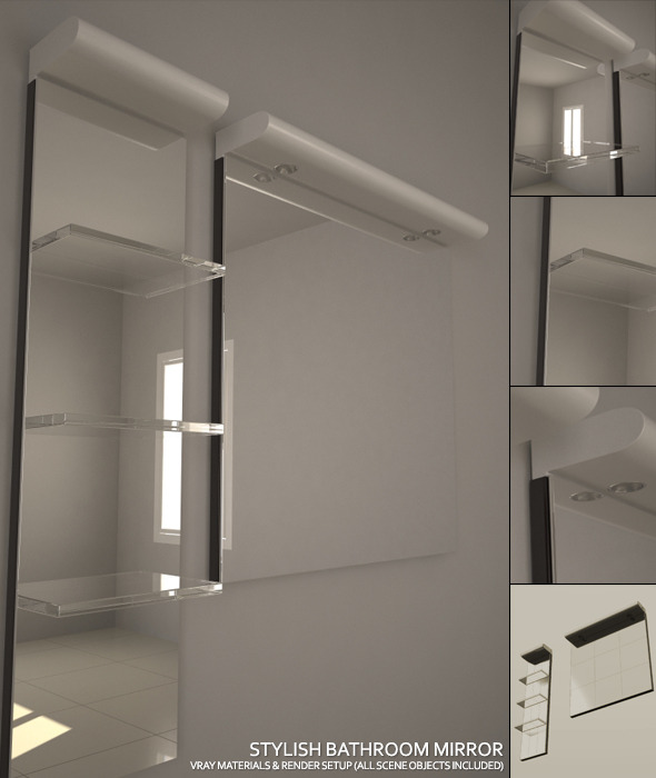 Stylish Bathroom Mirror Set + Complete Vray Setup