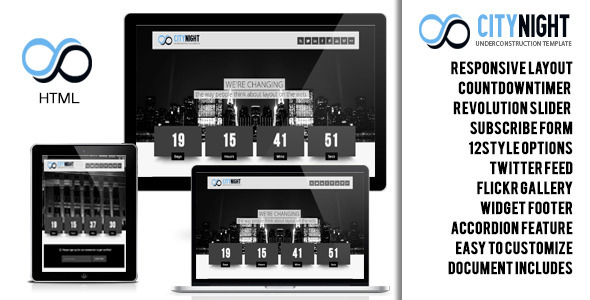 ThemeForest Citynight Responsive Underconstruction Template 4701958
