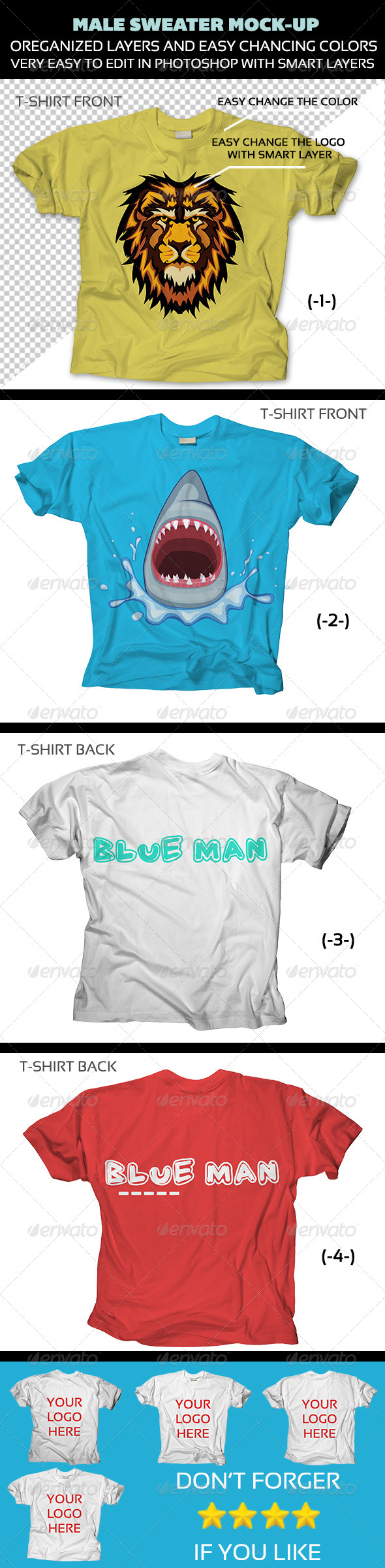 GraphicRiver T-Shirt Mock-Ups Front and Back 4702344