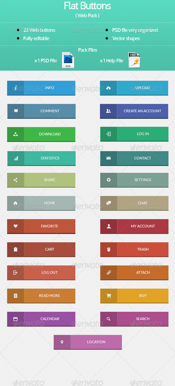 GraphicRiver Flat Buttons Web Pack 4703130