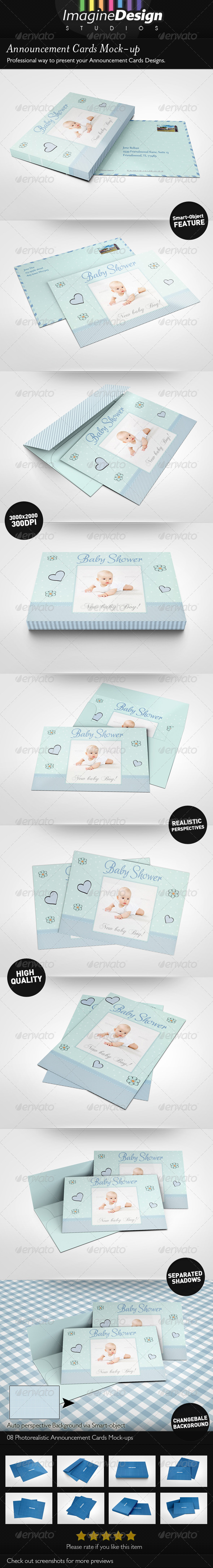 GraphicRiver Announcement Cards Mock-Ups 4703994