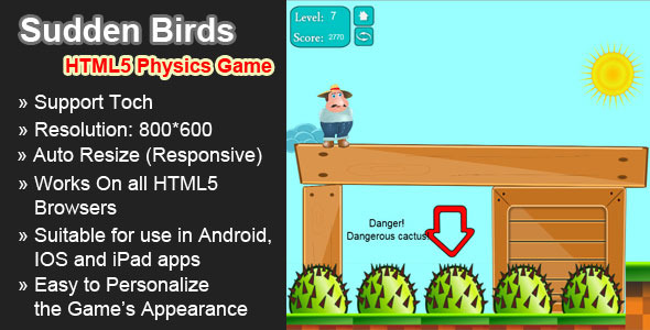CodeCanyon Sudden Birds HTML5 physics game 4704640