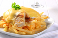 Cheese topped fish fillets with French fries - PhotoDune Item for Sale