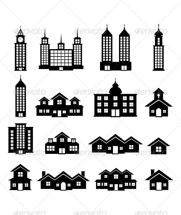 Building Black And White Buildings Objects