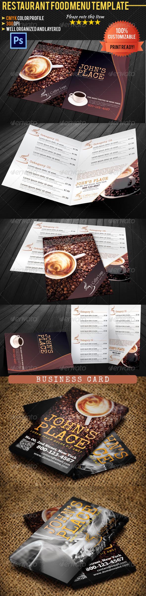 Coffee Menu & Business Card - Food Menus Print Templates