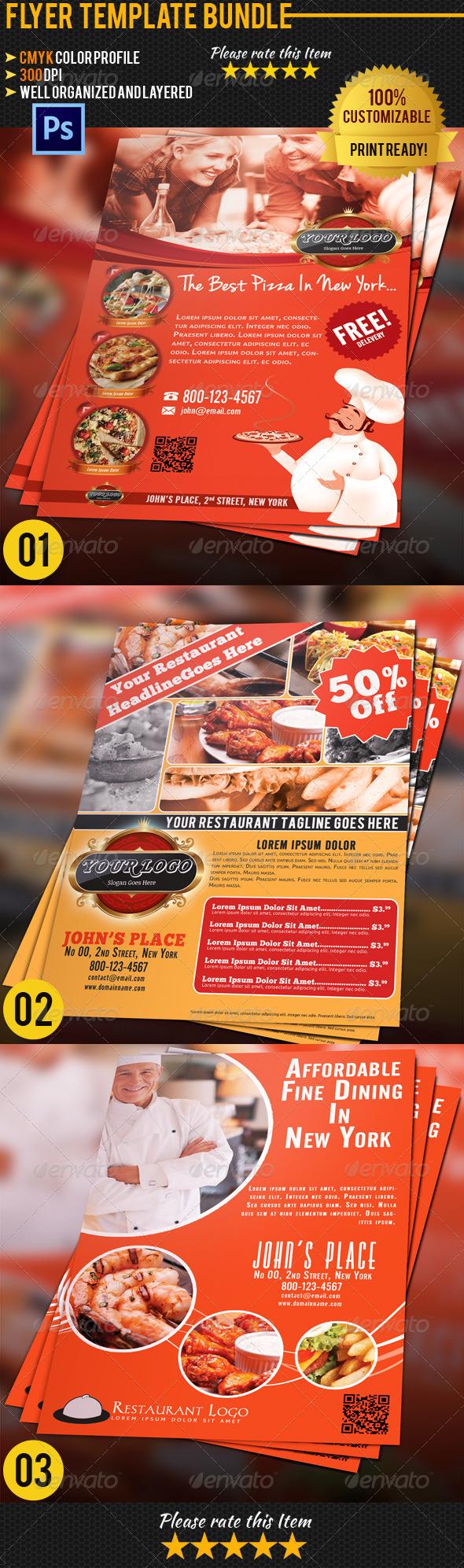 GraphicRiver Restaurant Flyer Bundle 01 4707004