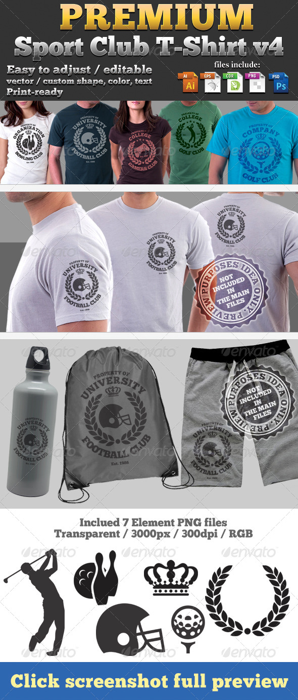 GraphicRiver Premium Sport Club T-Shirt V4 Template 4707179
