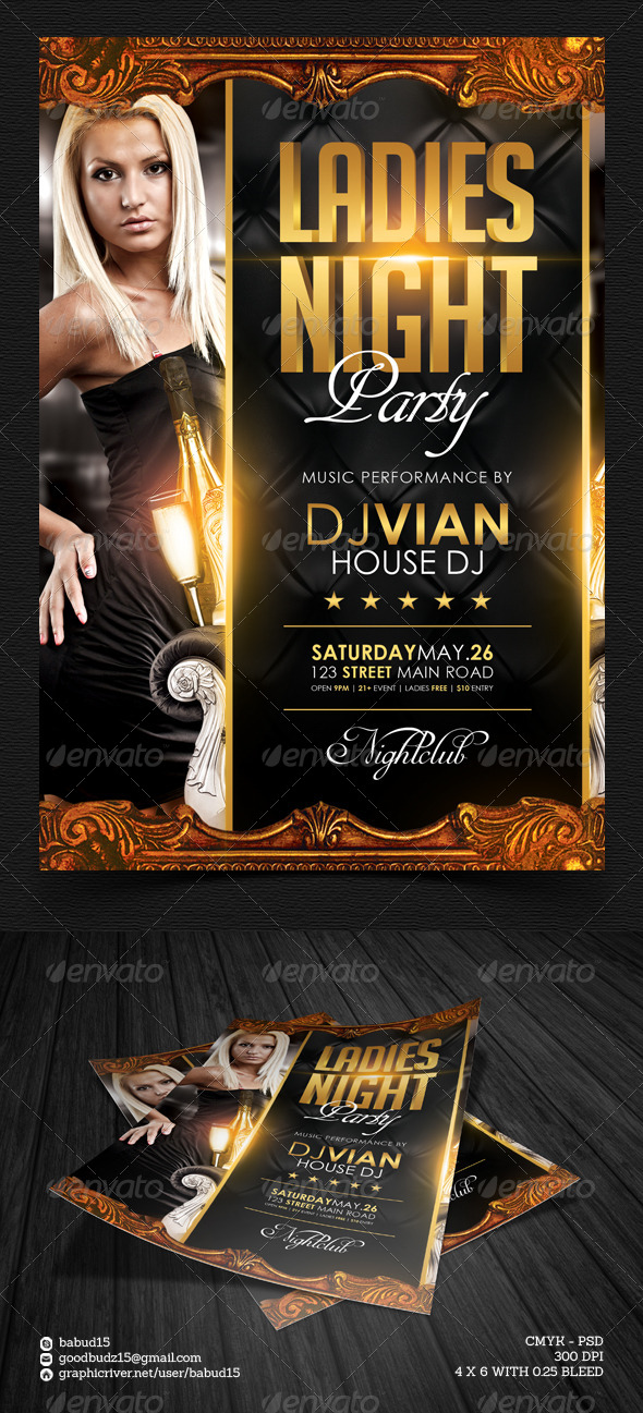 GraphicRiver Ladies Night Flyer Template 4619710