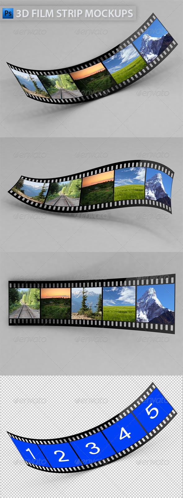 3D Film Strip Mock-Ups - Miscellaneous Photo Templates
