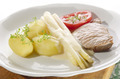 asparagus with potato and pork chop - PhotoDune Item for Sale
