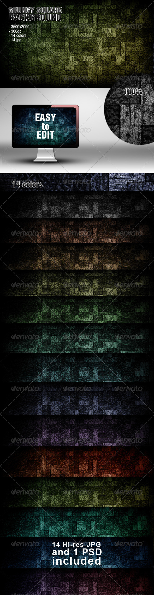 GraphicRiver Grungy Square Backgrounds 4707981