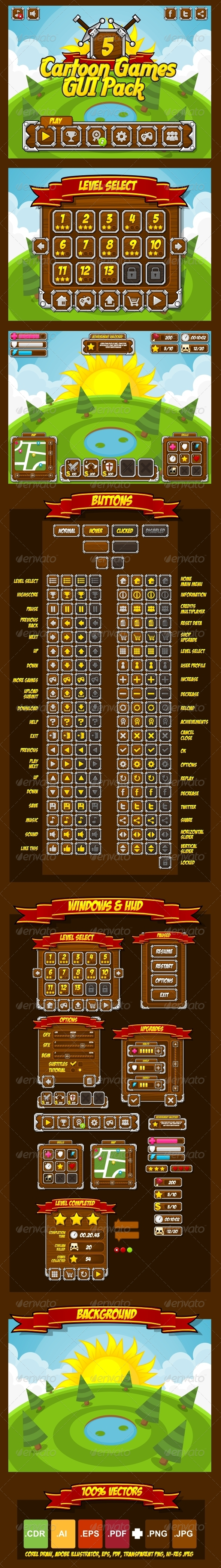 GraphicRiver Cartoon Games GUI Pack 5 4708033